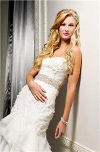 wedding dress, white, texture, strapless, sash