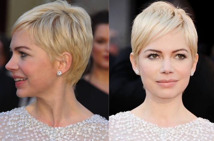 Hair by Vidal, Michelle Williams shows how a Vidal-inspired pixie crop can look sleek and smart.
