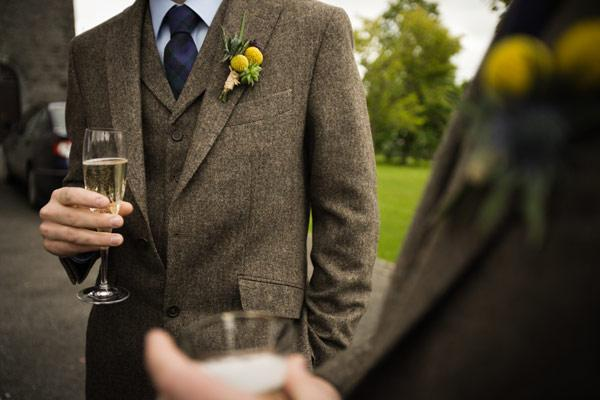 Groom Tweed Suit With Blue Tie