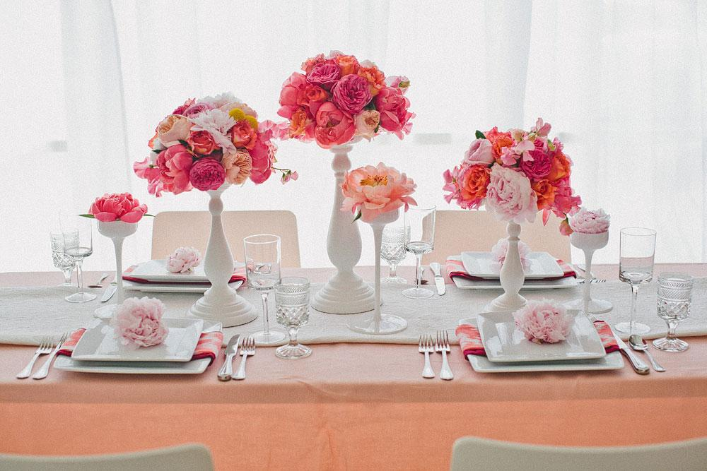 Decor Details Flowers theme table settings pink white & Moposa Wedding Planning Ideas. Flowers theme table settings pink ...