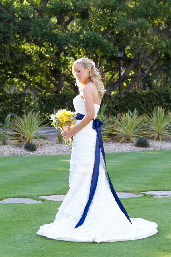Dream Dresses, wedding dress, white, long, tiered, sash, navy