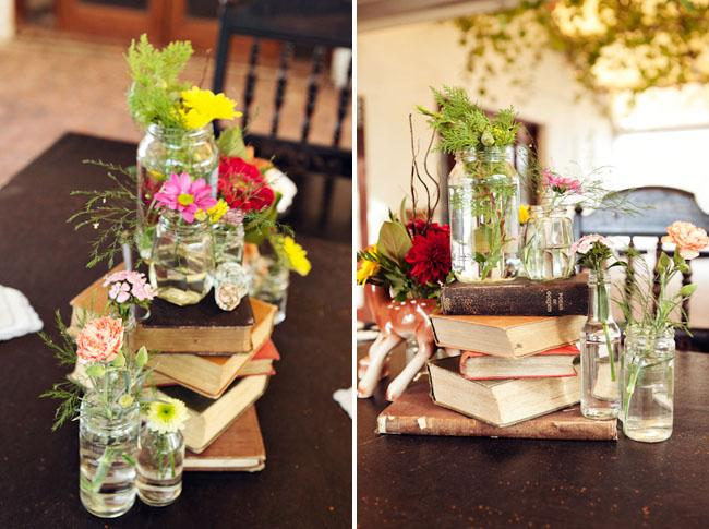 Flowers, Wildflowers in jars on old books