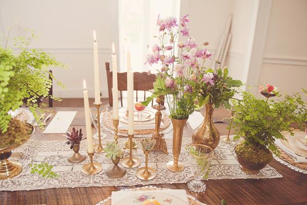 Table Setting, Tall candles, gold vases