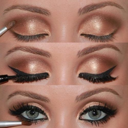 Beauty, beauty, make up, gold, coper, nude, liquid eyeliner, how to, tutorial
