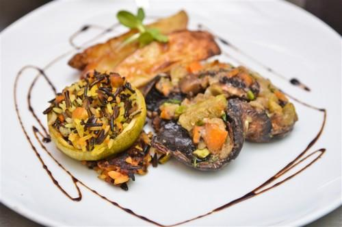 Vegan Wedding Food, Stuffed mushrooms, potato wedges and wild rice stuffed courgettes