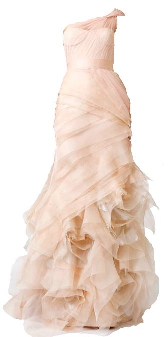 Dresses with Drama, Vera Wang Farrah Dress, pale pink, nude, ruffles