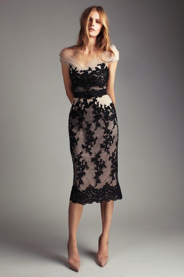 Dresses with Drama, dress, lace, nude, black, bridemaid
