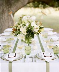 Decor & Event Styling. table decor, green, white, table settings