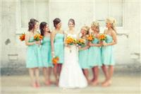 Attire. bridesmaids, bouquet, yellow, blue,turquoise