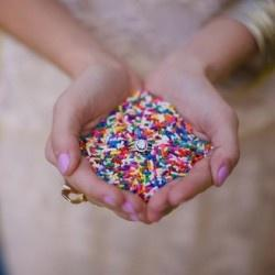 Ceremony, Throwing sprinkles as confetti.
