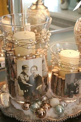 Table Decoration, Table decorations with old pictures.