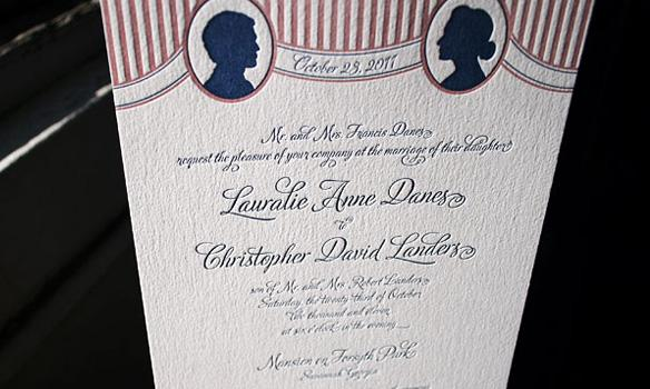 Bella Figura Letterpress, A vintage frame and European inspired stripes make Cameo letterpress weddi