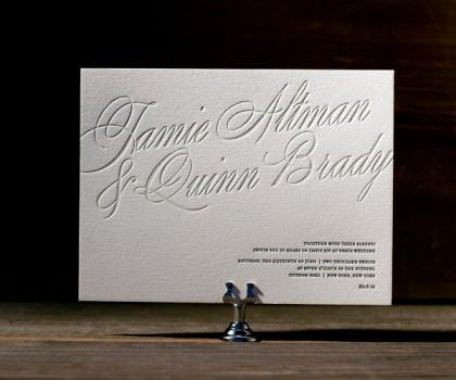 Bella Figura Letterpress, Picture a chic city wedding with black tie glamor and letterpress invitati