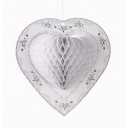 Wedding Accessories, Add romance and elegance to any room with our White Honeycomb Heart decoration.