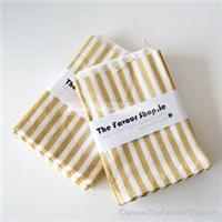 Accessories & Favours. Pack of approx 100 matt gold and white candy striped paper bags measuring 5_