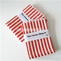 Accessories & Favours. Pack of approx 100 red and white candy striped paper bags measuring 5_ x 7_ (