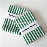 Accessories & Favours. Pack of approx 100 Green and white candy striped paper bags measuring 5_ x 7_