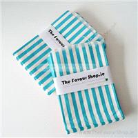 Accessories & Favours. Pack of approx 100 Light Blue and white candy striped paper bags measuring 5_