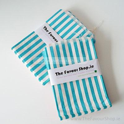 Wedding Accessories, Pack of approx 100 Light Blue and white candy striped paper bags measuring 5_ x