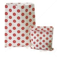 Accessories & Favours. Pack of approx 100 Red Polkadot and white paper bags measuring 5_ x 7_ (12.5