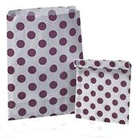 Accessories & Favours. Pack of approx 100 Plum Polkadot and white paper bags measuring 5_ x 7_ (12.5