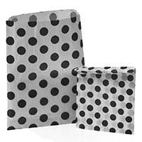 Accessories & Favours. Pack of approx 100 Black Polkadot and white paper bags measuring 5_ x 7_ (12.