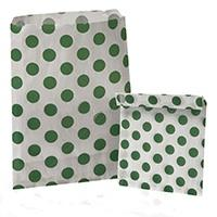 Accessories & Favours. Pack of approx 100 Green Polkadot and white paper bags measuring 5_ x 7_ (12.