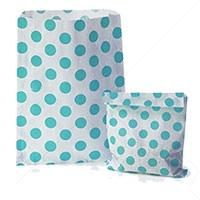Accessories & Favours. Pack of approx 100 Aqua Polkadot and white paper bags measuring 5_ x 7_ (12.5