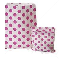 Accessories & Favours. Pack of approx 100 Bright Pink Polkadot and white paper bags measuring 5_ x 7