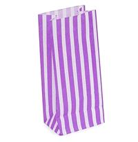 Accessories & Favours. Pack of approx 50 bright purple and white candy striped paper bags.Colour