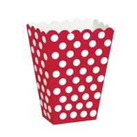 Accessories & Favours. These red with white polka dot treat boxes measure approx 5 x 3.7 x 2.2 inche