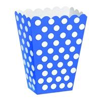 Accessories & Favours. These royal blue with white polka dot treat boxes measure approx 5 x 3.7 x 2.