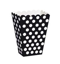 Accessories & Favours. These black with white polka dot treat boxes measure approx 5 x 3.7 x 2.2 inc