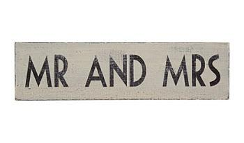 Wedding Accessories, Ivory distressed effect with the words 'MR AND MRS' in blackSize: 23.7cm lo