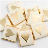 Accessories & Favours. 100 pieces. Wrapped chocolates measure 35mm square x 4mm depth (1 3/8_ square