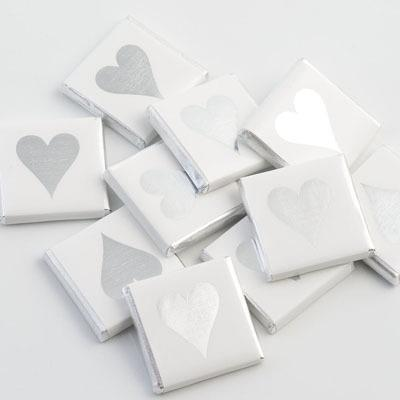 Wedding Accessories, 100 pieces. Wrapped chocolates measure 35mm square x 4mm depth (1 3/8_ square x