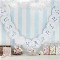 Accessories & Favours. Lovely white card bunting! A string of fluted edged circles with letters cut