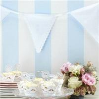 Accessories & Favours. A string of gorgeous white cotton bunting with alternate lace edged and plain