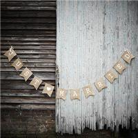 Accessories & Favours. Our rustic hessian vintage bunting has the words just married printed in whit