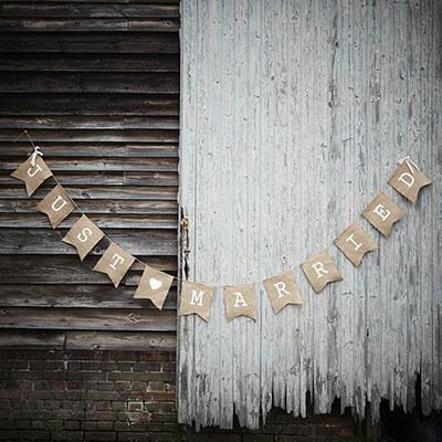 Wedding Accessories, Our rustic hessian vintage bunting has the words just married printed in white