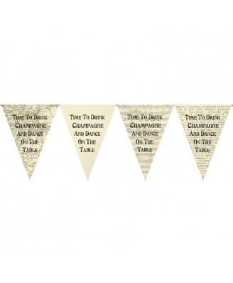 Wedding Accessories, 12 flags on 3 meter jute string.Bunting Lenght: 3 MeterColour: Ivory
