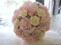 Bouquets, Pink and cream roses.