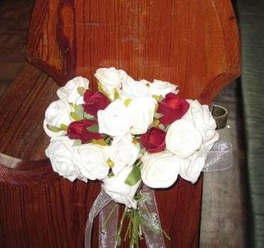 Church decor, White and red rose buds.