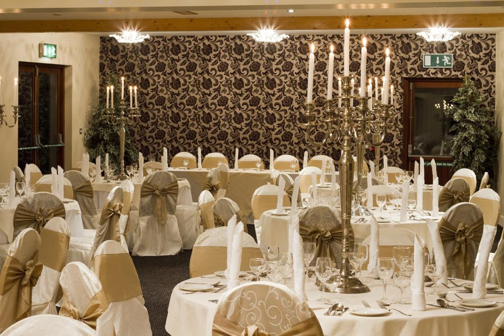 Reception Decor, White chair cover with a champagne colored sash.