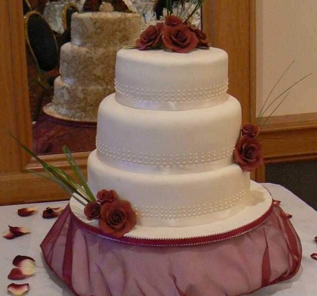 Cakes, Cascade Wedding Cake with Piping Detail & Roses (eight different cake flavours available). Al
