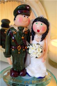 Accessories & Favours. Ceramic Army Officer and Running Bride. Handmade and unique to each client.