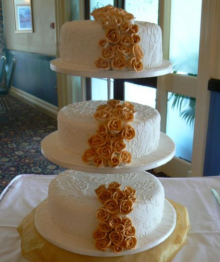 Cakes, Three-Tier Flowing Roses Wedding Cakes with Rose Embroidery (eight different cake flavours av
