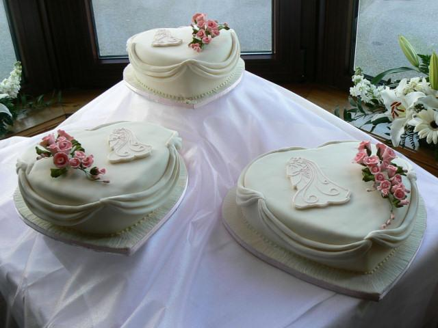 Cakes, Three-Tier Heart Wedding Cake with Bride & Groom Motif (eight different cake flavours availab