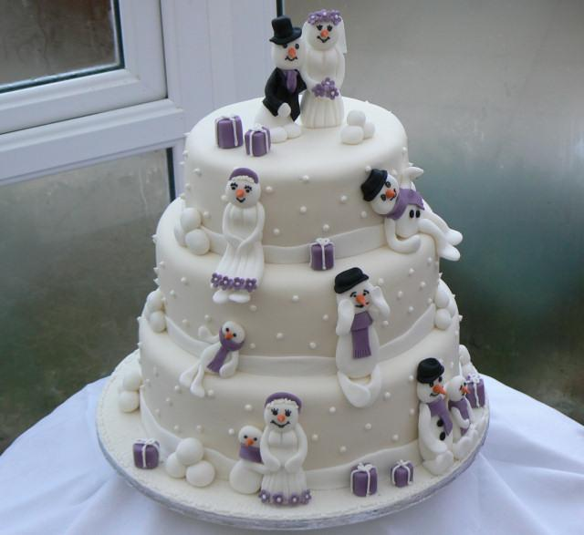 Cakes, Three-Tier Snowmen Cascade Wedding Cake (eight different cake flavours available). All cakes