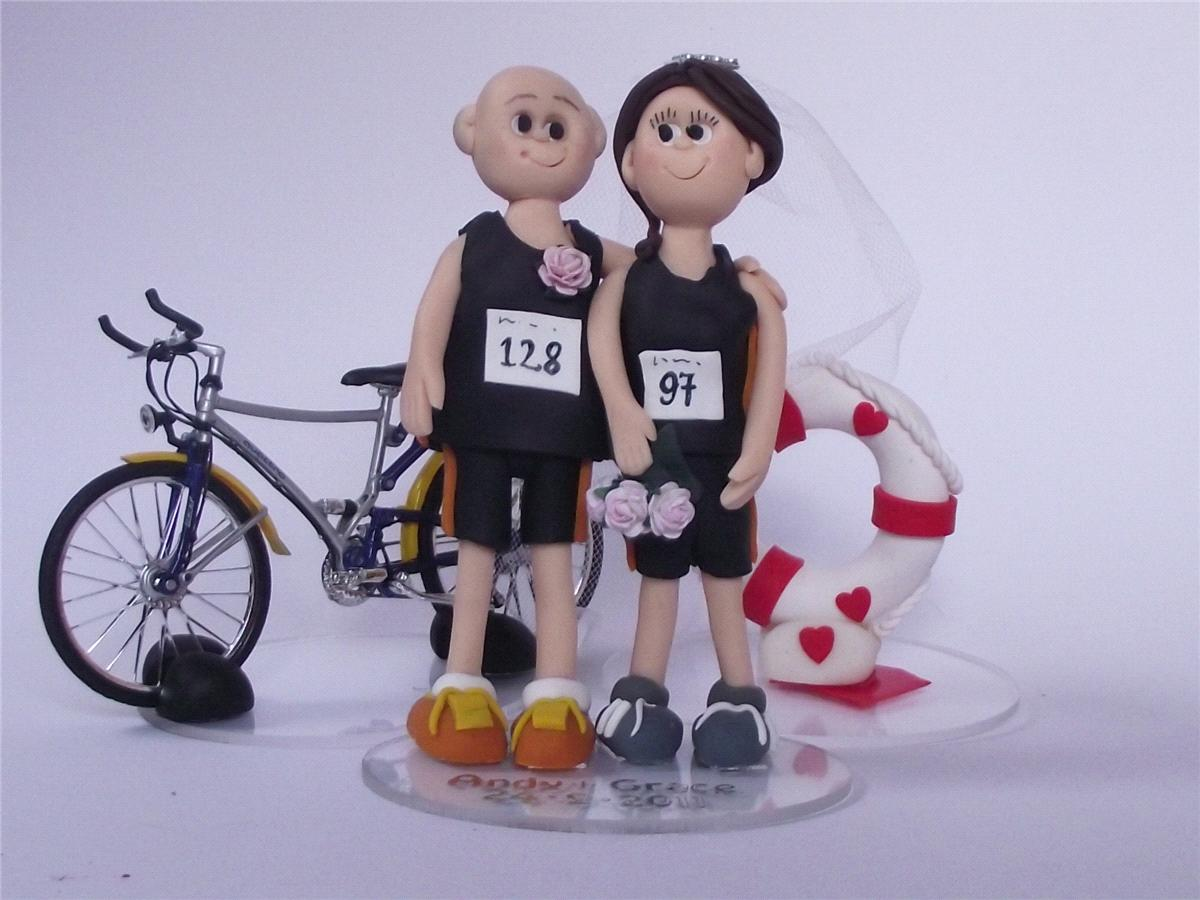 Accessories & Favours, Sports-Themed Wedding Cake Topper (Triathletes)